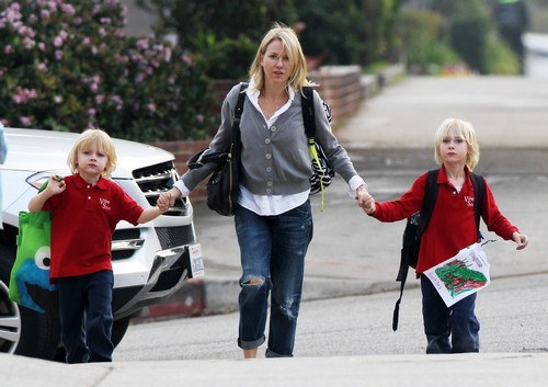 Naomi Watts Picks Up Her Sons, Samuel & Alexander From School