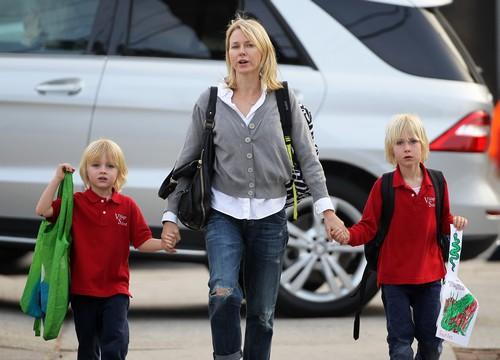 Naomi Watts Picks Up Her Boys From School