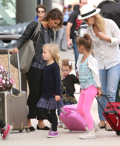 Exclusive... Jessica Alba & Family Catching A Flight Home From Cabo