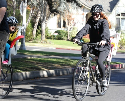 Alyson Hannigan Takes a Bike Ride With Family