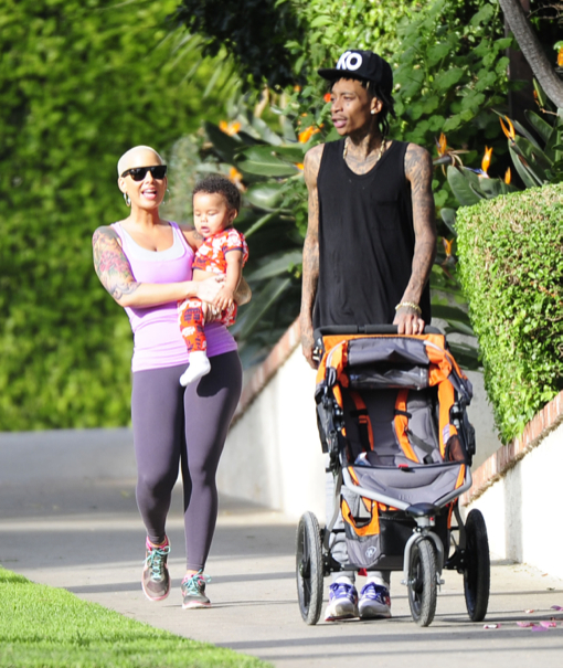 Amber Rose & Wiz Khalifa Stroll With Son Sebastian