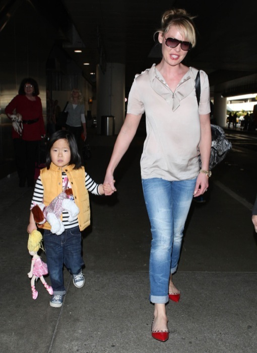 Katherine Heigl & Daughter Nancy Arriving On A Flight At LAX