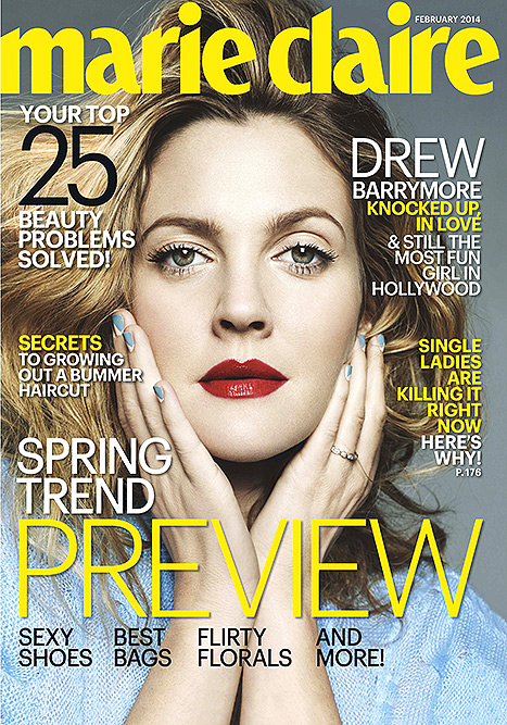 Drew Barrymore Covers Maire Claire Feb 2014