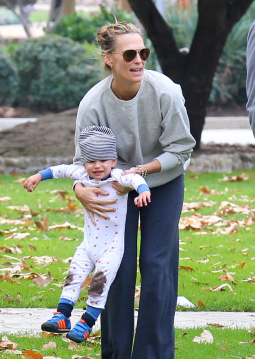 Molly Sims Enjoys The Park With Her Family