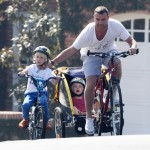 Liev Schreiber Take His Boys For a Bike Ride & Visit to the Farmers Market