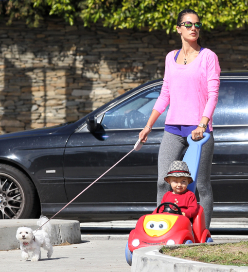 Alessandra Ambrosio Out For A Stroll With Noah