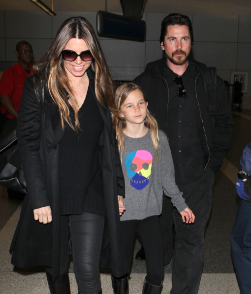 Christian Bale & Family Arriving On A Flight At LAX
