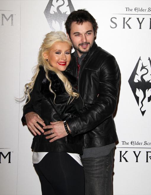Christina Aguilera and boyfriend Matt Rutler at The Elder Scrolls V: Skyrim Launch Party in LA
