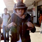 Orlando Bloom Gives Flynn a Piggyback Ride at LAX