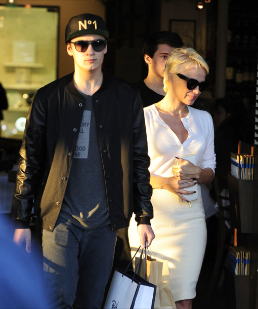 Pamela Anderson Takes Her Sons Shopping At Fred Segal
