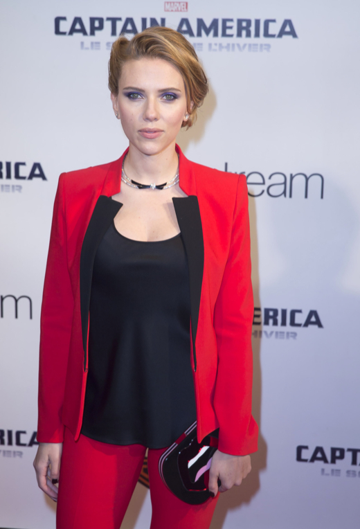 Pregnant Scarlett Johansson Glows in Red Pants Suit