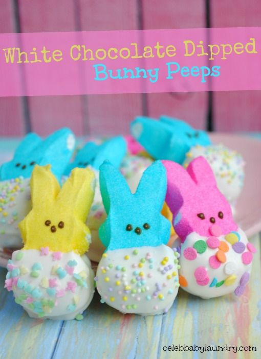 White Chocolate Dipped Bunny Peeps #Easter #BunnyPeeps