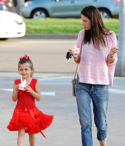 Exclusive... Alessandra Ambrosio Takes Her Daughter Out For Frozen Yogurt