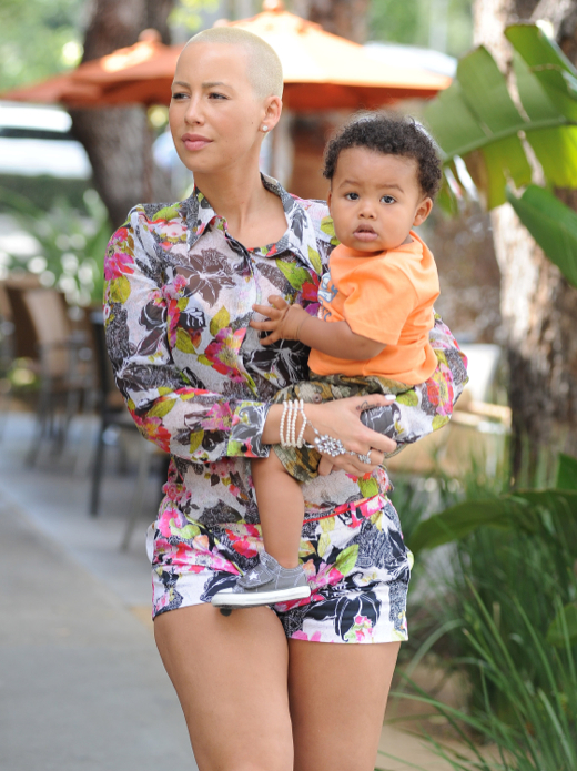 Amber Rose Out And About With Her Son