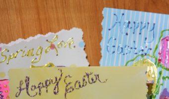 Child's Heel Print Easter Egg Cards #EasterCraft