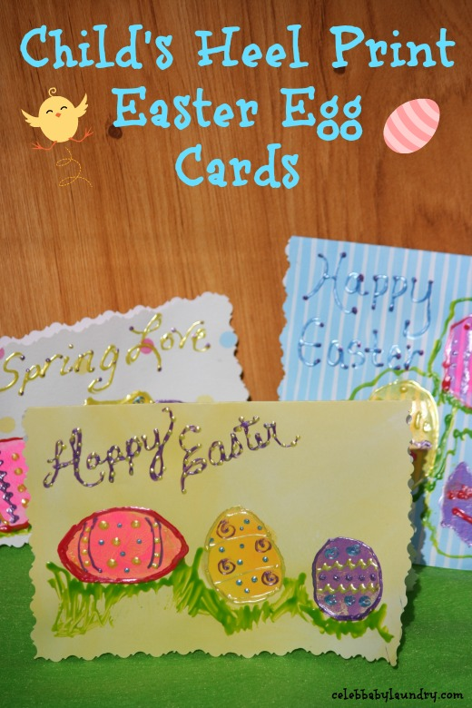 Child's Heel Print Easter Egg Cards #EasterCraft