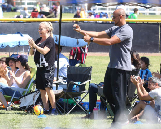 Pregnant Kendra Wilkinson Cheering On Her Son At His Soccer Game