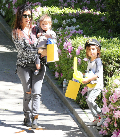 Kourtney Kardashian & Kids At A Birthday Party In Beverly Hills