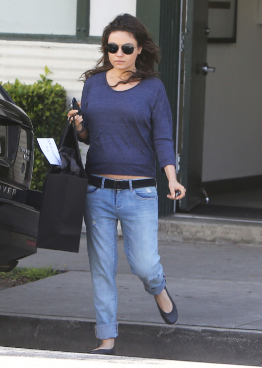 Semi-Exclusive... Pregnant Mila Kunis Shopping In Beverly Hills