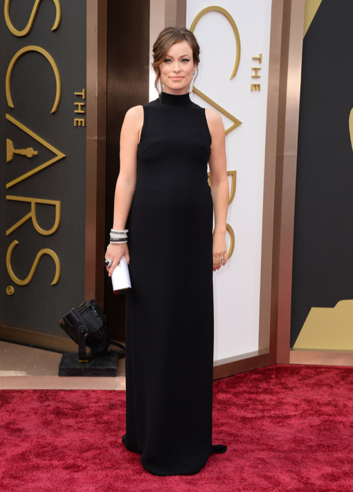 Pregnant Olivia Wilde Stuns in a Black Valentino Gown