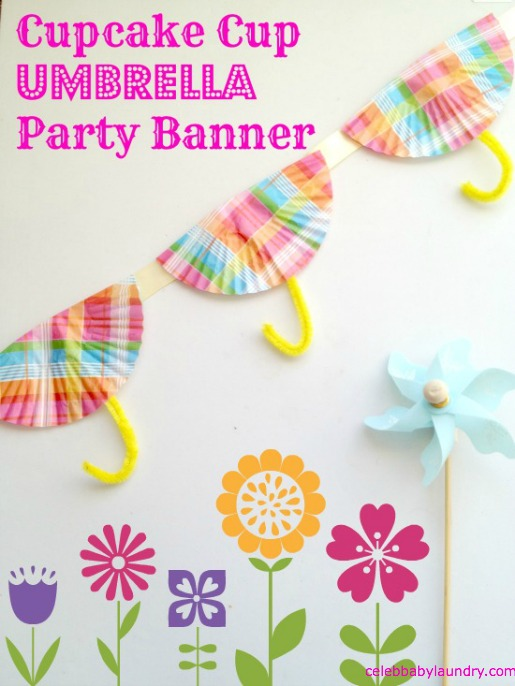 Spring Party: Cupcake Cup Umbrella Banner #SpringCraft #Party