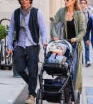 Elizabeth Berkley & Family Out For A Walk In New York City