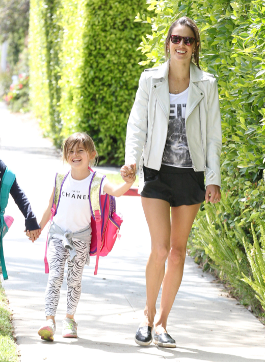 Alessandra Ambrosio Picks Her Daughter Up From School