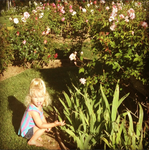 Jessica Simpson's Daughter Maxwell Stops to Smell The Roses