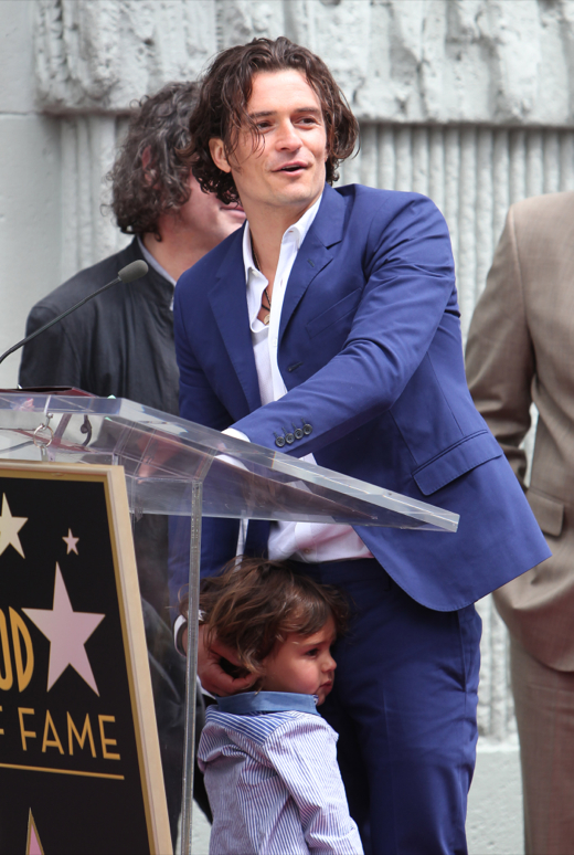 Orlando Bloom Takes Flynn to His Hollywood Walk of Fame Ceremony