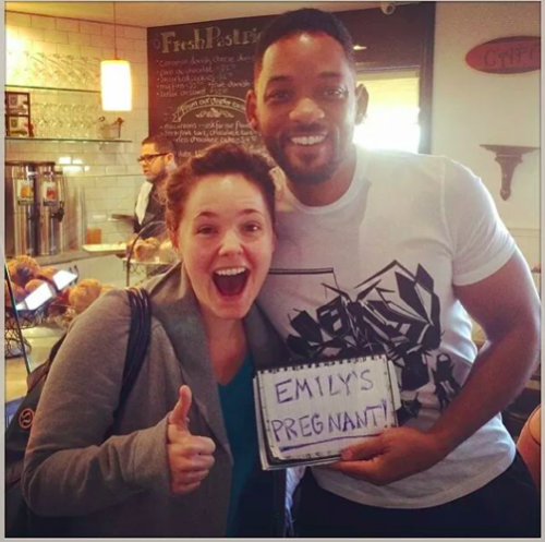 Will Smith Helps Woman Announce Pregnancy