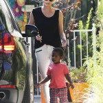 Charlize Theron Runs Errands With Jackson