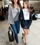 Cindy Crawford & Daughter Kaia Arriving On A Flight At LAX