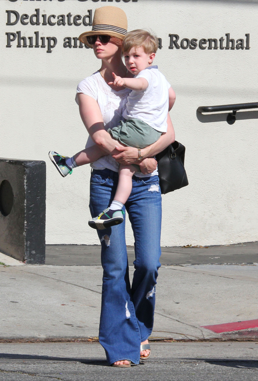January Jones Spends The Day With Her Little Man