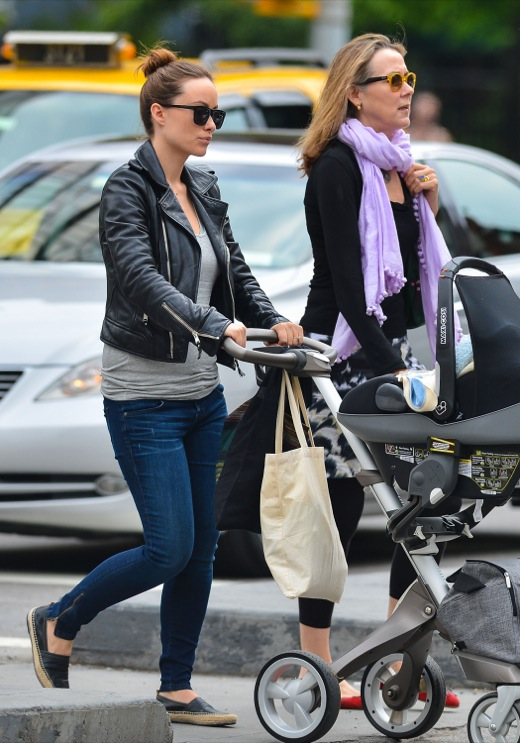Olivia Wilde Goes For A Stroll With Her Son And Mom