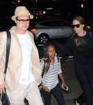 Brad Pitt & Angelina Jolie Catch A Flight Out Of LAX Airport