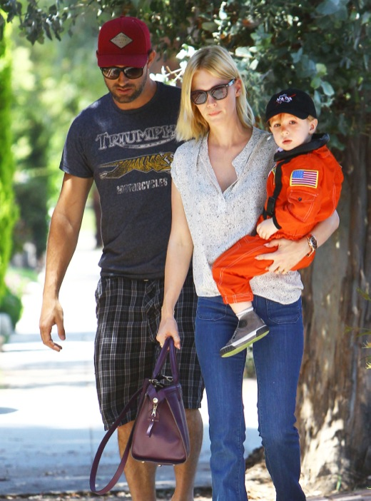 January Jones Stops For BBQ With Her Son And A Friend