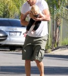 Exclusive... Barefoot Josh Duhamel Takes Axl Outside To Talk To A Friend