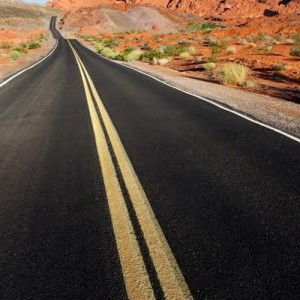 Scenic road through Valley of Fire State Park, Nevada.