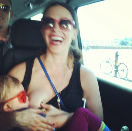 Alanis Morissette Breastfeeding Picture