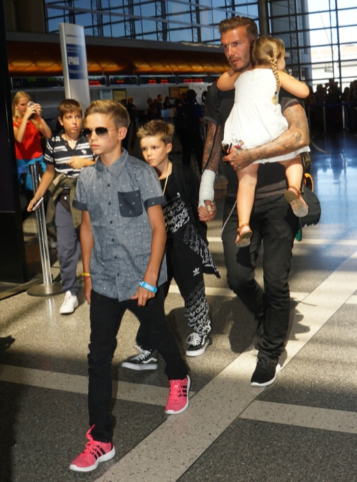 David Beckham Catches A Flight With His Kids