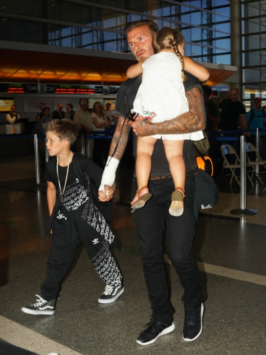 David Beckham Catches a Flight With his Children