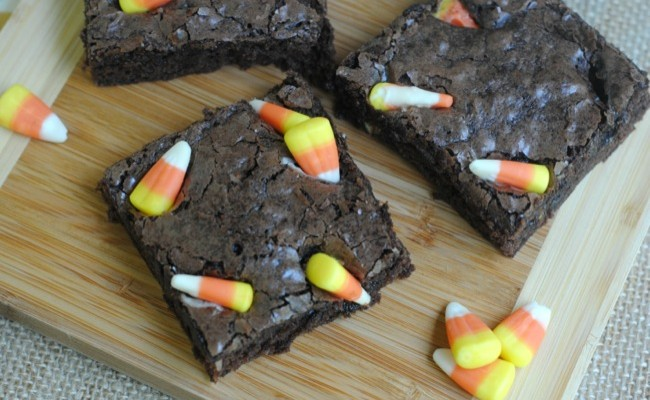 Fall Treat & Perfect For Halloween: Homemade Candy Corn Brownies