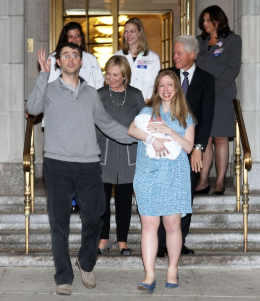 Chelsea Clinton & Family Leave The Hospital With Baby Charlotte
