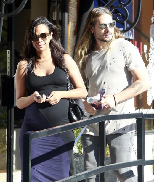 Pregnant Zoe Saldana & Marco Perego Go Shopping At Bel Bambini
