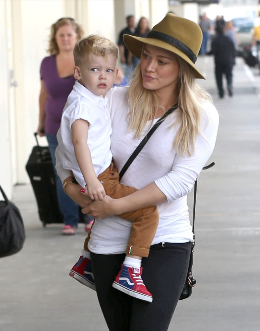 Hilary Duff & Luca Catch A Flight Out Of LAX Airport