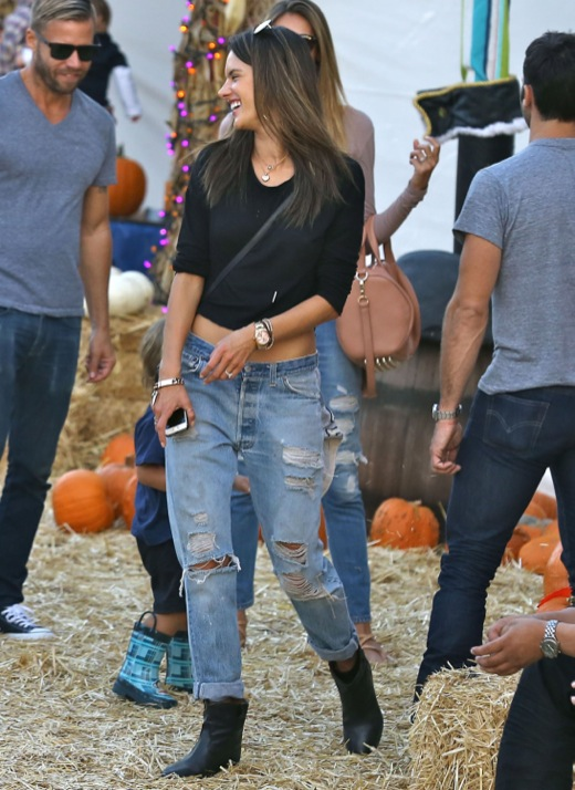Alessandra Ambrosio & Family At Mr. Bones Pumpkin Patch
