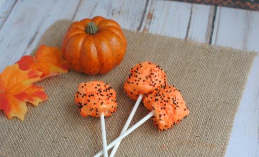 Orange Halloween Marshmallow Pops