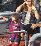 Shakira & Son Watching Gerard Pique Play Soccer
