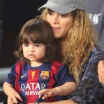 Pregnant Shakira & Milan Cheer on Gerard Pique at Barcelona Game