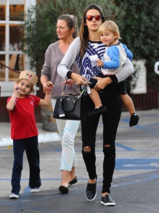 Exclusive... Alessandra Ambrosio Takes Her Kids Out For An Early Dinner